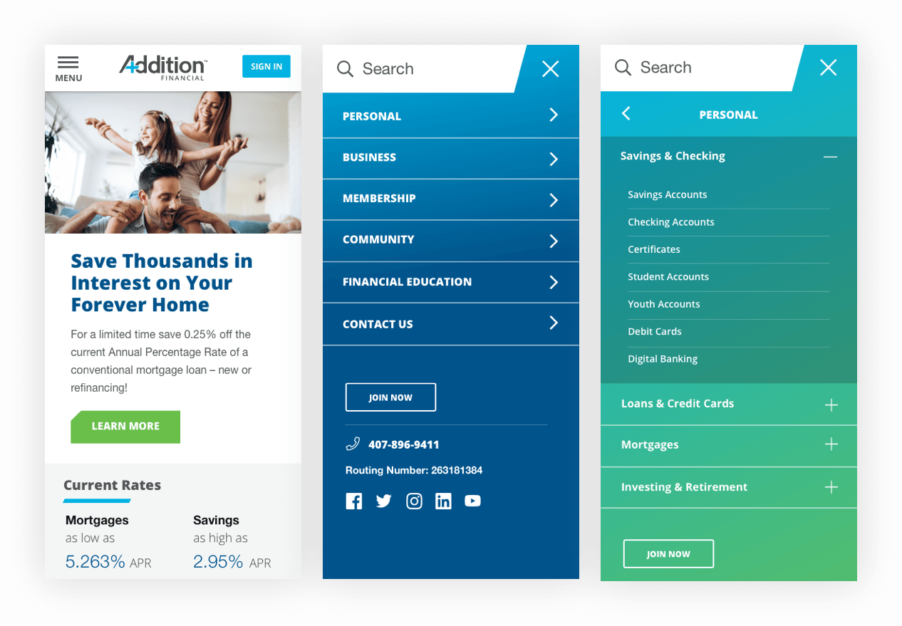 Addition Financial Mobile Designs