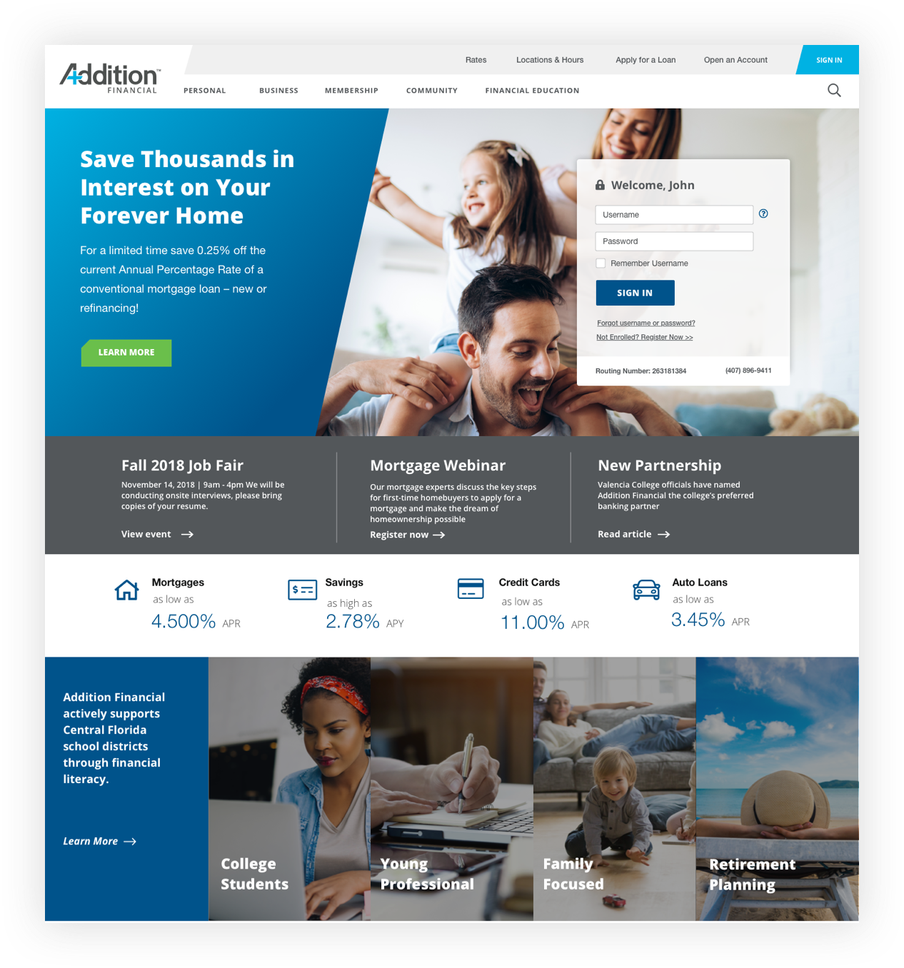 Addition Financial Website Home Screen Design